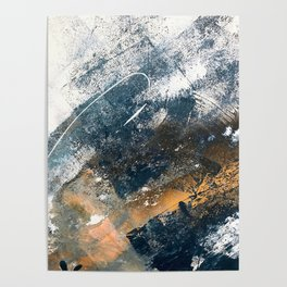 Wander [4]: a vibrant, colorful, abstract in blues, white, and gold Poster