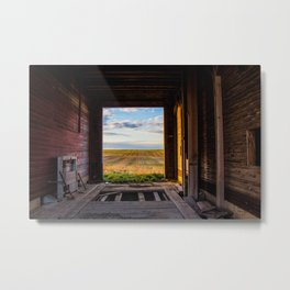 Prairie Through a Grain Elevator Metal Print