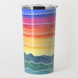 Mountains of Waves Watercolor Painting Travel Mug