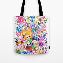 Orange and Pink Cats in Flower Garden Tote Bag