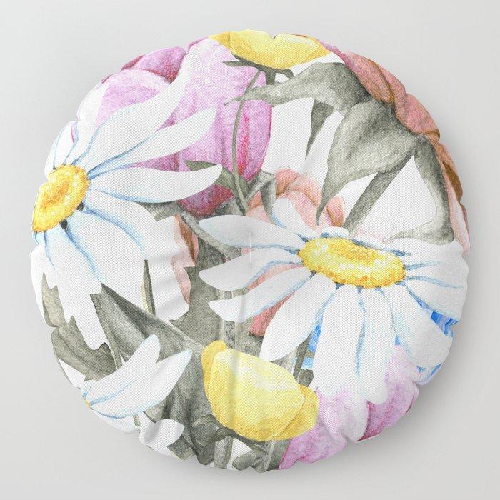 Summer Floral Watercolour Bouquet Floor Pillow
