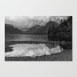 Lake McDonald Sunset in Black and White Canvas Print