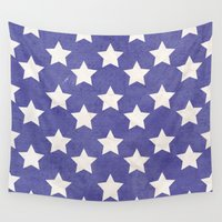 american flag Wall Tapestries featuring American Flag by Katie Zimpel