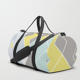 Yellow & Gray Geometric Pattern Duffle Bag