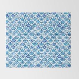 AZTEC MERMAID Tribal Scallop Pattern Throw Blanket