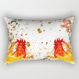 Fire watercolor rooster Rectangular Pillow