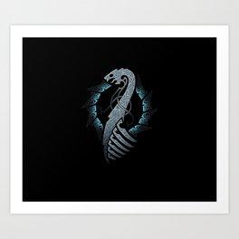 Vikings Dragon Ship Art Print