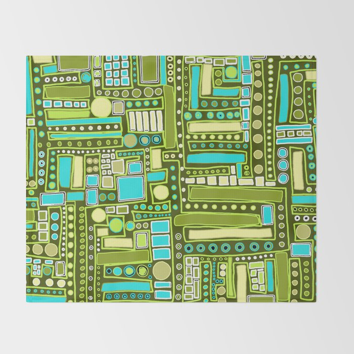 Mid-Century Modern Maze ~ Aqua & Forest Throw Blanket