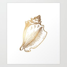 Gold Conch Shell Art Print