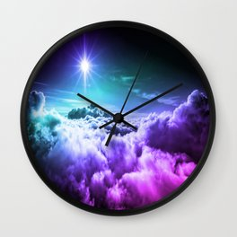 Cool Tone Ombre Clouds Wall Clock