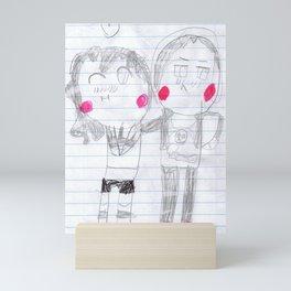 A boy and girl blushing Mini Art Print