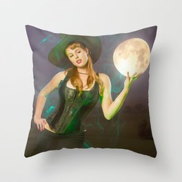 """Moonlighting"" - The Playful Pinup - Halloween Witch Pin-up Girl by Maxwell H. Johnson Throw Pillow"