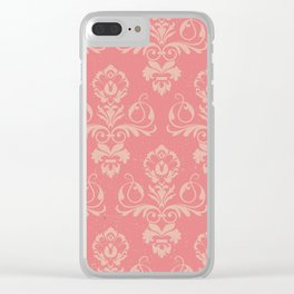 Dusty Rose Vintage Damask Clear iPhone Case