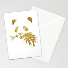 Panda Bear & Bamboo - Gold Stationery Cards