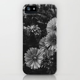 FLOWERS - FLORAL - BLACK AND WHITE iPhone Case