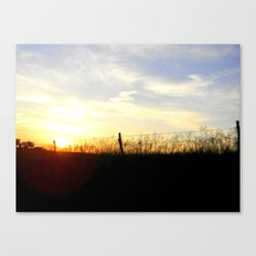 Sunset Behind the Fence Canvas Print