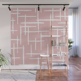 Soft pink abstract strokes grid modern minimal style pattern design Wall Mural