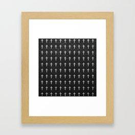 White Crosses Pattern Black Leather Photo Print Framed Art Print
