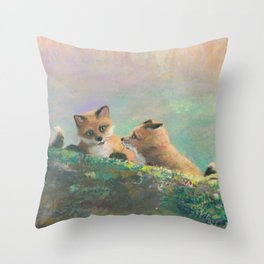 Red Fox Kits First Outing Throw Pillow