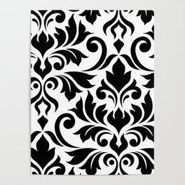Flourish Damask Art I Black on White Poster