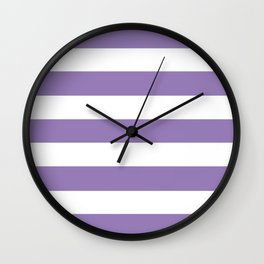 Lavender purple - solid color - white stripes pattern Wall Clock