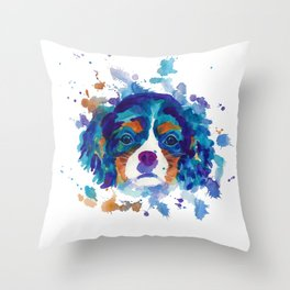 The cavalier king Charles Spaniel portrait in blue Throw Pillow