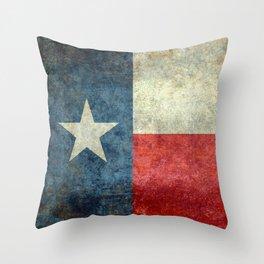 Texas State Flag, Retro Style Throw Pillow