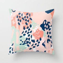 Kala - abstract painting minimal coral mint navy color palette boho hipster decor nursery Throw Pillow
