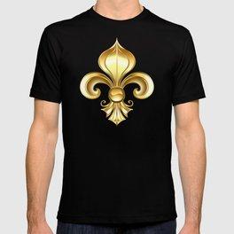 Gold Fleur De Lis on a Blue Background T-shirt