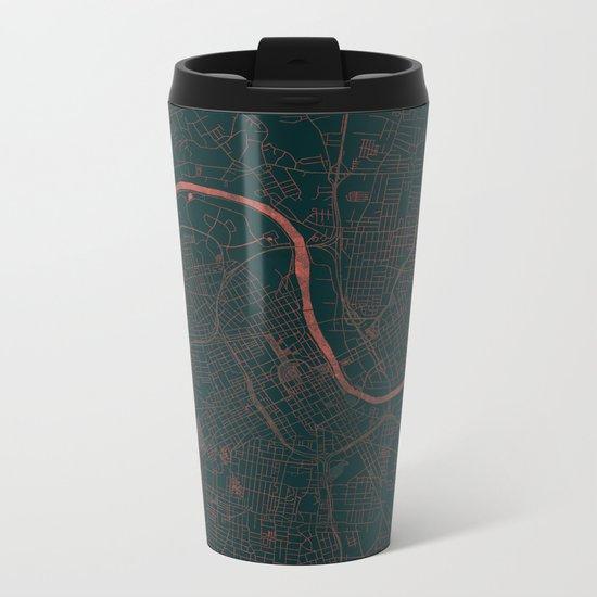 Nashville Map Red Metal Travel Mug
