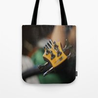 bass Tote Bags featuring Bass by Gaby Mabromata