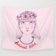 Floral Feminist Bitch Wall Tapestry