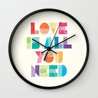 all you need is love Wall Clocks featuring Love Is All You Need by Crafty Lemon