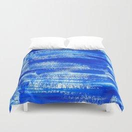 Cool & Calming Cobalt Blue Paint on White  Duvet Cover