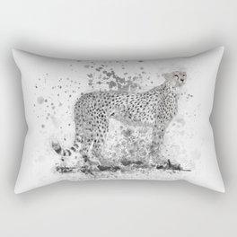 Cheetah in Black and White Rectangular Pillow