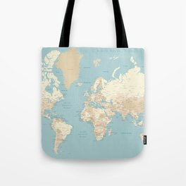 """Cream, brown and muted teal world map, """"Jett"""" Tote Bag"""