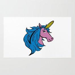 Cartoon Unicorn on the Cob - Blue Cornstalk pun Rug