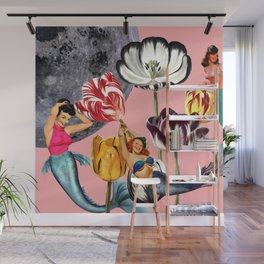 Mermaid Floral with moon Wall Mural