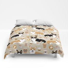 Corgi coffee welsh corgis dog breed pet lovers tan corgi crew Comforters