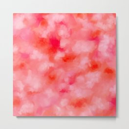 Blush Cream Coral Floral Abstract Metal Print