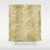 tropical Shower Curtains featuring Tropical Gold by Cat Coquillette