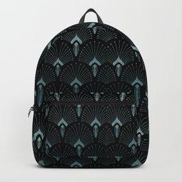 Teal Art Deco,art nouveau pattern, art deco black teal pattern, chic,elegant,great Gatsby,belle epoq Backpack