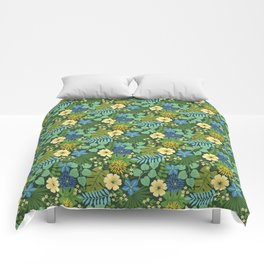Tropical Blue and Yellow Floral Comforters