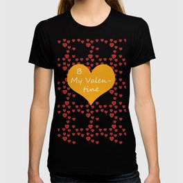 Bright ruby red fancy abstract love style pattern with fine golden hearts and bubbles T-shirt