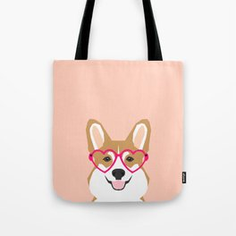 Corgi Love - Valentines heart shaped glasses on funny dog for dog lovers pet gifts customizable dog  Tote Bag