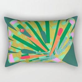 Fan Leaf in Green Rectangular Pillow