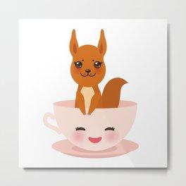 Cute Kawai pink cup with red squirrel Metal Print