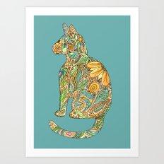 Calico Cat Blue Art Print
