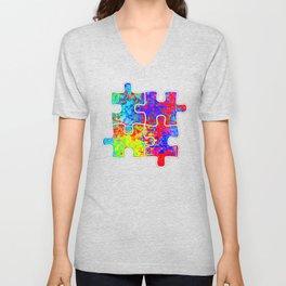 Autism Colorful Puzzle Pieces Unisex V-Neck