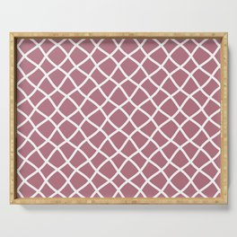 Dusty pink and white curved grid pattern Serving Tray
